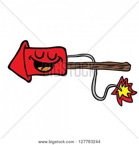 happy  fire rocket cartoon illustration