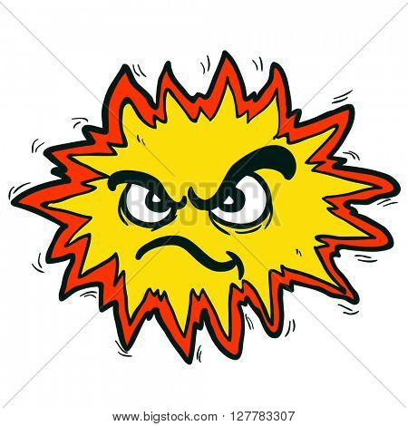 angry freehand drawn cartoon illustration explosion sign