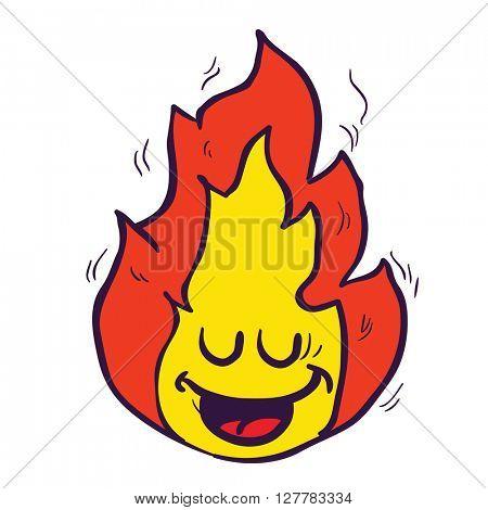 happy freehand drawn cartoon fire illustration