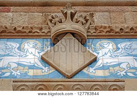 BARCELONA, SPAIN - AUGUST 1, 2015: Detail of the famous historical complex of former monastery and hospital Sant Pau Recinte Modernista, built between 1905-1930, designed by Lluis Domenech i Montaner