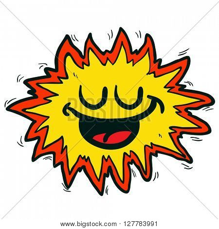 happy freehand drawn cartoon explosion sign illustration