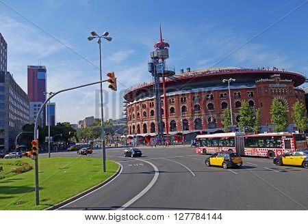 BARCELONA, SPAIN - AUGUST 1, 2015 - View of bullring Arenas de Barcelona at the Placa d'Espanya