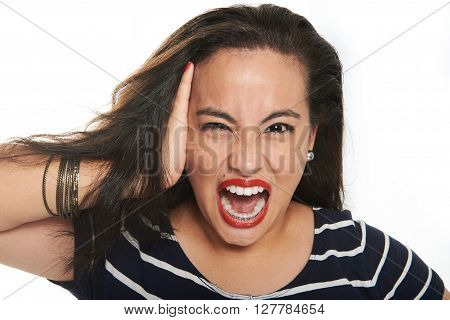 Brunette Gril Screaming
