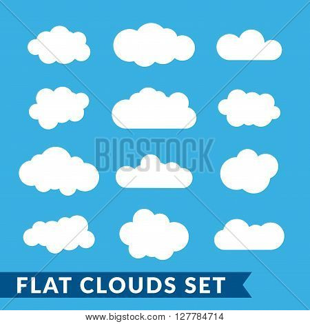 Cloud icons set. White outline isolated on blue sky background. Collection template elements design. Symbol of space weather clear and nature. Abstract signs. Flat graphic style. Vector Illustration