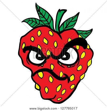 angry strawberry cartoon illustration