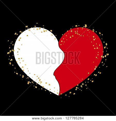 Halves red and white heart icon. Two half puzzle. Art design template. Broken shape sign isolated on white background. Symbol wedding Valentine day romantic love. Golden splash Vector illustration