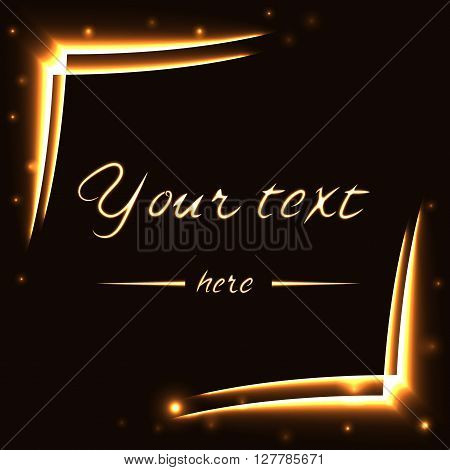 Gold frame tracing effect. Glowing fire trace square. Sparkle trail on black background. Glitter line. Flying sparkling flash lights. Modern graphic design for banner logo card. Vector illustration.