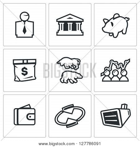 Vector Set of Exchange Icons. Broker, Bank, Piggy, Money, Bull and Bear, Quotes, Purse, Monitor.