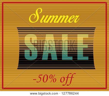 Summer Sale Inscription. Striped Yellow Blue Letters. Vector Illustration
