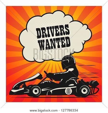 Karting Go Cart race poster, vector illustration