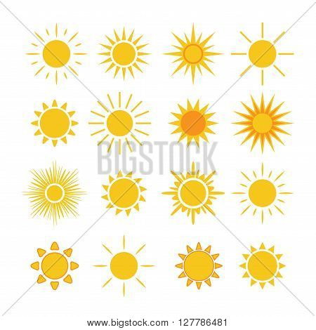 Sun icons set. Collection light yellow signs with sunbeam. Design elements isolated on white background. Symbol of sunrise heat sunny and sunset morning sunlight. Flat style. Vector Illustration.