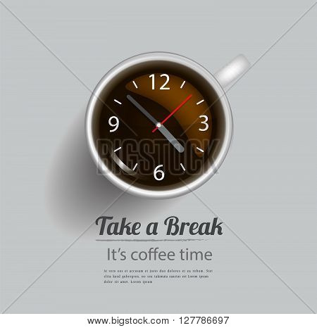 Coffee cup with clock concept,Take a coffee break.