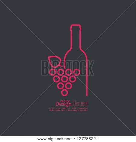 Abstract background with grapevine leaves and bottle. Logo grapes. Wine or vine logo icon.  Line art. Bottle of wine with a glass wine.