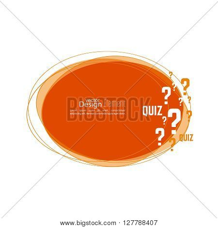 Question mark icon. Help symbol. Quiz vector. Banner roundish form. The concept is the question with the answer.