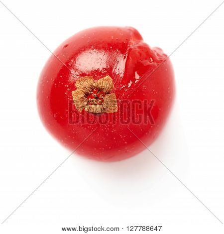 Single red ripe  Currant berries isolated over white background