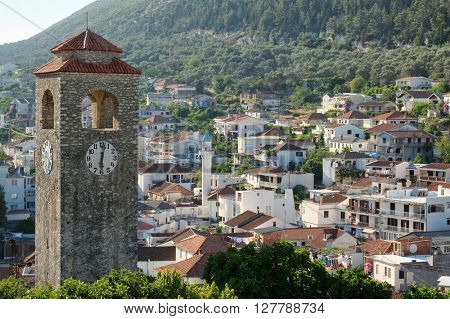 Ulcinj Clock Tower, village with minaret, Montenegro
