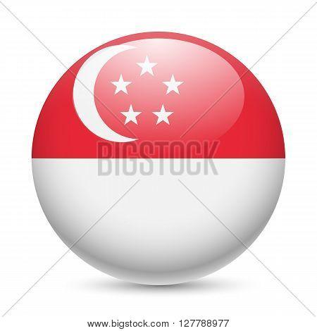 Flag of Singapore as round glossy icon. Button with Singaporean flag