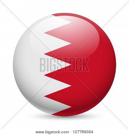 Flag of Bahrain as round glossy icon. Button with Bahraini flag