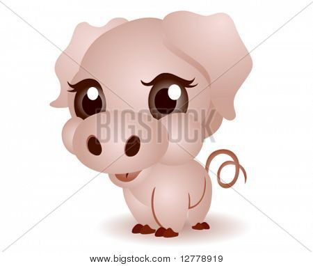 Young Pig (Piglet) - Vector