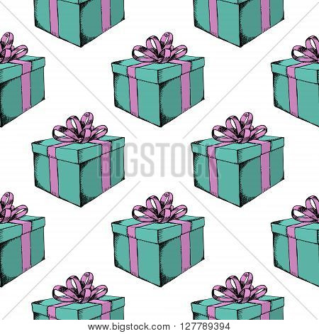 Gift box with ribbon. Hand drawn vector stock illustration. Seamless background pattern