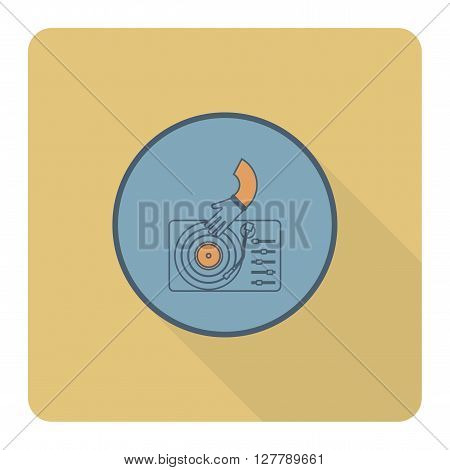 Happy Birthday Icon. Music Dj Party. Simple, Minimalistic and Flat Style. Retro Color. Long Shadow. Vector