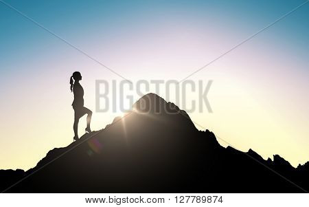 business, success, career, achievement and people concept - silhouette of businesswoman raising up to mountain top over sky and sun light background
