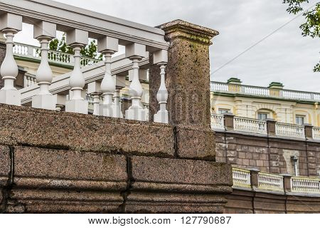 Elements of architecture and buildings in the baroque style in the summer