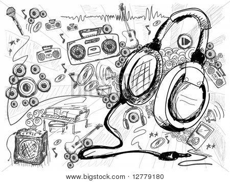 Música Doodles - Vector