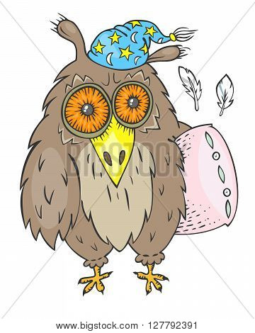 Hand drawn sleepy owl with pink pillow and blue nightcap