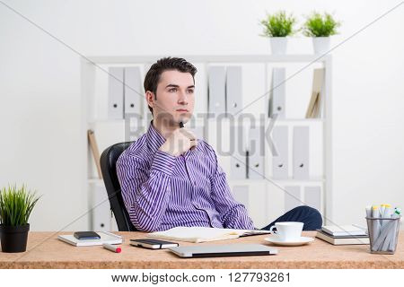 Thinking Man In Office