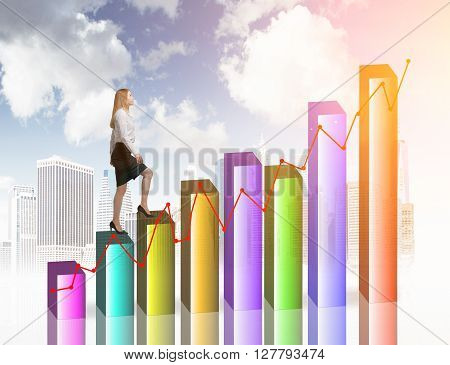Financial growth concept with businesswoman walking upwards on chart bars with buildings and sky in the background