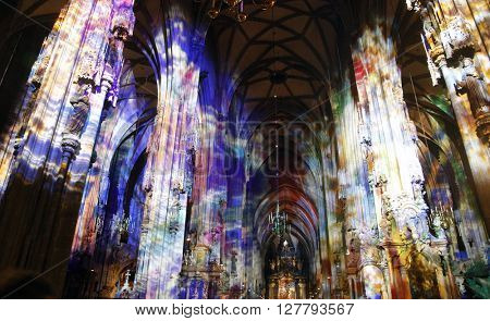 VIENNA, AUSTRIA - DECEMBER 09: Lights in St. Stephen's Cathedral on December 09, 2011 in Vienna, Austria