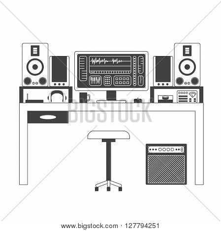 Musician workspace vector monochrome thin line illustration. Musician working table with digital equipment. Computer headphones sequencer loudspeakers and combo isolated on white background.