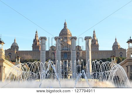 Palau Nacional (national Art Museum Of Catalonia), Four Columns And Magic Fountain In Barcelona