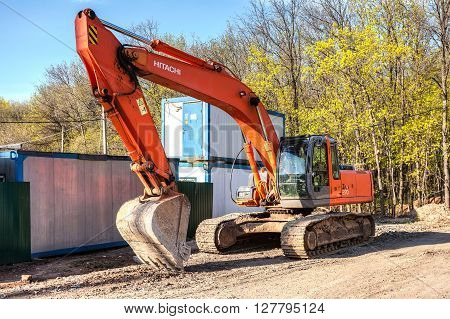 SAMARA RUSSIA - APRIL 26 2016: Hyundai excavator at construction site in summer sunny day