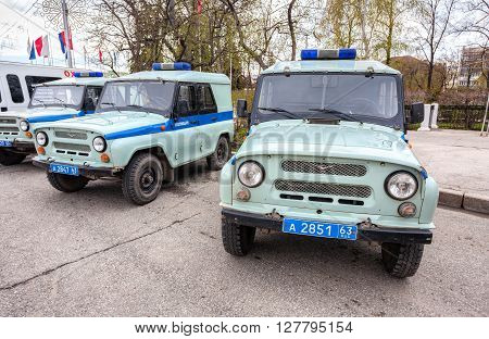 SAMARA RUSSIA - APRIL 20 2016: Russian police patrol vehicles parked on the city street in spring day