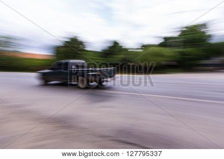 pick-up Speeding in road , asia Thailand