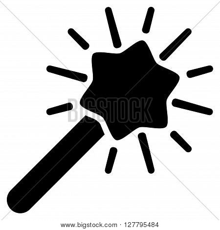 Wizard Wand vector icon. Style is flat icon symbol, black color, white background.