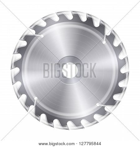 Rotating metal blade of circular saw on white background
