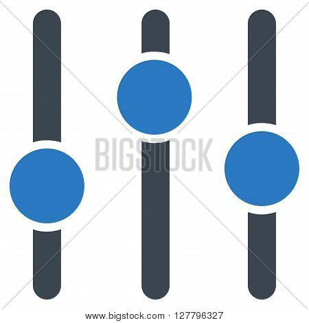 Equalizer vector icon. Style is bicolor flat icon symbol, smooth blue colors, white background.