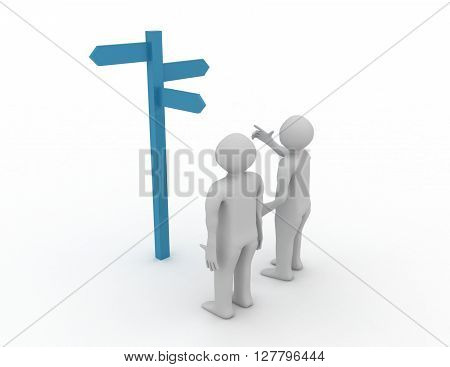 Signpost With 3D Characters Showing Travelling Or Guidance