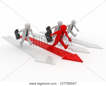 Human Race Competition Of 3D People. Success Winning Concept.