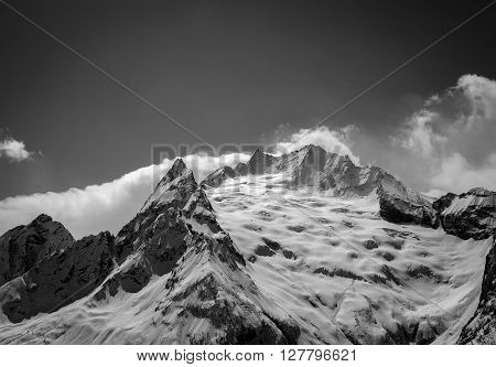 Black And White Caucasus Mountains In Cloud