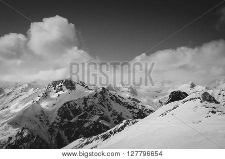 Black And White Ski Slope