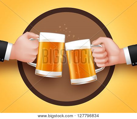 Cheers Beer of Two Man Holding Mug for Toast of Celebration. 3D Realistic Vector Illustration