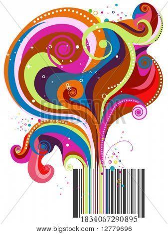 Barcode Wave Design - Vector