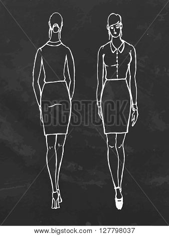 Full length of woman. Hand drawn vector stock illustration