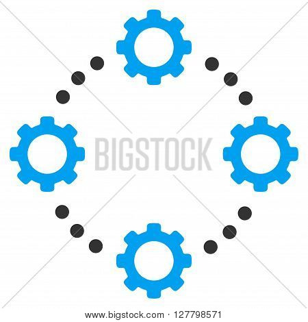 Gear Virtual Connection vector icon. Style is bicolor flat icon symbol, blue and gray colors, white background.
