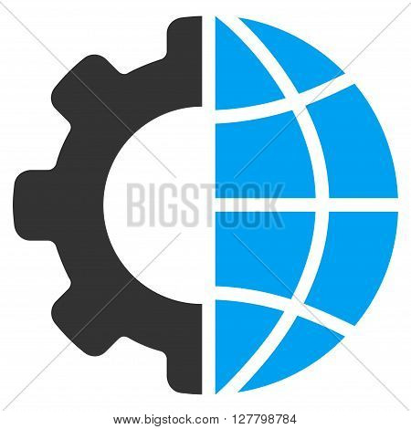 International Manufacture vector icon. Style is bicolor flat icon symbol, blue and gray colors, white background.
