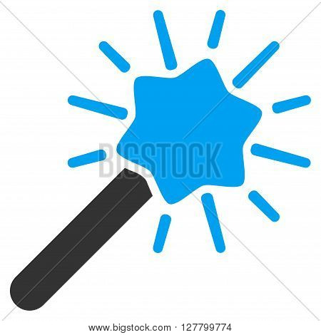 Wizard Wand vector icon. Style is bicolor flat icon symbol, blue and gray colors, white background.